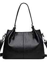 cheap -Women's Zipper Faux Leather / PU Top Handle Bag Solid Color Black / Wine / Purple