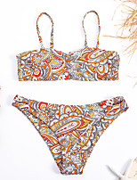 cheap -Women's Basic Rainbow Halter Cheeky Tankini Swimwear - Rainbow Backless Print S M L Rainbow