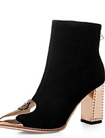 cheap -Women's Boots Chunky Heel Pointed Toe Suede Booties / Ankle Boots Winter Black