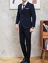 abordables -Noir / Bleu Couleur Pleine Coupe Sur-Mesure Polyester Costume - Cranté Droit 2 boutons / costumes