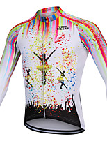 cheap -YORK TIGERS Men's Long Sleeve Cycling Jersey Winter Fleece Silicone Elastane White Bike Jersey Top Mountain Bike MTB Road Bike Cycling Thermal / Warm Breathable Quick Dry Sports Clothing Apparel