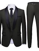 abordables -Noir / Rouge Bordeaux / Bleu Couleur Pleine Coupe Sur-Mesure Polyester Costume - Col Châle Droit 1 bouton / costumes