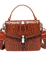 cheap -Women's Embossed PU Top Handle Bag Solid Color Black / Brown / Wine