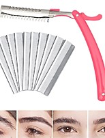 cheap -10Pcs/Set Retractable Eyebrow Razor with 10Pcs Stainless Steel Blade Portable Safe Beautiful Eyebrow Shaper
