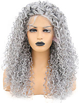 cheap -Synthetic Lace Front Wig Afro Curly Spiral Curl Free Part with Baby Hair Lace Front Wig Long Grey Synthetic Hair 18-30 inch Women's Heat Resistant Classic Synthetic Gray / Natural Hairline