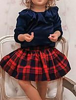 cheap -Kids Girls' Basic Color Block Long Sleeve Clothing Set Blue