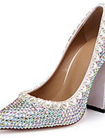 cheap -Women's Heels Chunky Heel Pointed Toe Rhinestone Cowhide British / Minimalism Spring & Summer / Fall & Winter Silver / Wedding