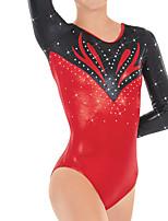 cheap -21Grams Rhythmic Gymnastics Leotards Artistic Gymnastics Leotards Women's Girls' Leotard Red Spandex High Elasticity Handmade Jeweled Diamond Look Long Sleeve Competition Dance Rhythmic Gymnastics