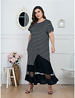 cheap -Women's Daily Wear Date Basic Elegant A Line Dress - Striped Patchwork Black L XL XXL XXXL