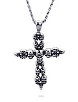 cheap -Men's Pendant Necklace Geometrical Cross Fashion Titanium Steel Silver 50 cm Necklace Jewelry 1pc For Daily Holiday