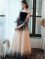 cheap -A-Line Off Shoulder Floor Length Lace / Satin / Velvet Elegant / Vintage Inspired Prom Dress 2020 with Lace Insert by Lightinthebox