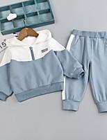 cheap -Kids Boys' Basic Color Block Long Sleeve Clothing Set Brown