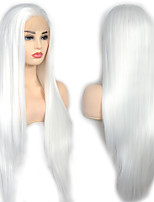 cheap -Synthetic Lace Front Wig Straight with Baby Hair Lace Front Wig Very Long White Synthetic Hair 22-26 inch Women's with Baby Hair Cosplay Women White