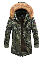 cheap -Men's Hiking Jacket Hiking Windbreaker Winter Outdoor Camo Windproof Warm Comfortable Winter Jacket Top Cotton Single Slider Hunting Fishing Camping / Hiking / Caving Black / Camouflage