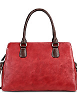 cheap -Women's Zipper Nappa Leather Top Handle Bag Solid Color Black / Red / Coffee