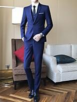 abordables -Noir / Rouge Bordeaux / Bleu Avec motifs Coupe Sur-Mesure Polyester Costume - Cranté Droit 1 bouton / costumes