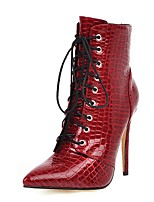 cheap -Women's Boots Stiletto Heel Pointed Toe PU Mid-Calf Boots Fall Black / White / Red