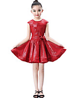 cheap -Latin Dance Dresses Girls' Performance / Theme Party Lycra Bow(s) / Wave-like Sleeveless Dress / Belt / Shorts