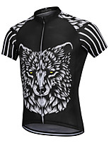 cheap -YORK TIGERS Men's Short Sleeve Cycling Jersey Silicone Elastane Terylene Black / White Animal Wolf Bike Jersey Top Mountain Bike MTB Road Bike Cycling Breathable Quick Dry Reflective Strips Sports