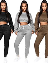 cheap -Women's 2-Piece Fleece Tracksuit Sweatsuit 2pcs Winter Running Fitness Jogging Windproof Breathable Soft Sportswear Athletic Clothing Set Long Sleeve Activewear Micro-elastic Regular Fit