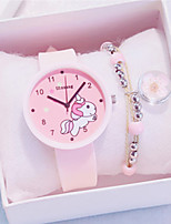 cheap -Women's Quartz Watches Cartoon New Arrival Black White Blue Silicone Chinese Quartz Black White+Pink White Chronograph Cute New Design 2pcs Analog One Year Battery Life