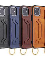 Недорогие -чехол для apple iphone 7/8 / 7p / 8p / x / xs / xr / xs max / 11 / 11pro / 11pro max держатель карты / противоударный / с подставкой на задней крышке из цельной кожи пу