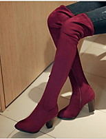 cheap -Women's Boots Chunky Heel Pointed Toe Suede Over The Knee Boots Winter Black / Wine / Blue