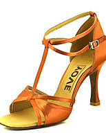 cheap -Women's Dance Shoes Satin Latin Shoes Buckle Heel Flared Heel Bronze