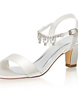 cheap -Women's Wedding Shoes Chunky Heel Open Toe Rhinestone Satin Summer Ivory / Party & Evening