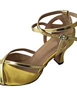 cheap -Women's Dance Shoes Satin Latin Shoes Heel Cuban Heel Gold