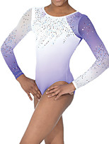 cheap -21Grams Rhythmic Gymnastics Leotards Artistic Gymnastics Leotards Women's Girls' Leotard Light Purple Spandex High Elasticity Handmade Jeweled Diamond Look Long Sleeve Competition Dance Rhythmic