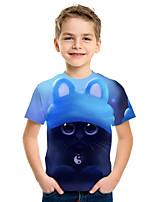 cheap -Kids Boys' Active Street chic Cat 3D Animal Print Short Sleeve Tee Blue