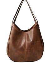 cheap -Women's Zipper PU Tote Solid Color Black / Brown / Wine