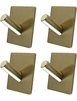 cheap -Adhesive Square Hooks 4 Pieces  Durable 304 Stainless Steel Wall Hangers Waterproof Rustproof Oil Proof for Kitchen Bathrooms Doors Office Closet-Black Silver Golden 3M03-4F