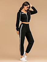 cheap -Women's Stripe Elastic Waistband Sweatsuit 1 set Winter Hooded Running Fitness Jogging Sportswear Normal Lightweight Breathable Soft Clothing Suit Long Sleeve Activewear Micro-elastic Regular Fit