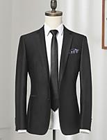 abordables -Noir Couleur Pleine Coupe Sur-Mesure Polyester Costume - Cranté Droit 1 bouton / costumes