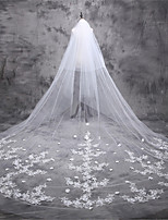 cheap -One-tier Classic Style / Lace Wedding Veil Cathedral Veils with Solid / Pattern 196.85 in (500cm) POLY / Lace