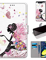 cheap -Case For Samsung Galaxy S10 / S10 Plus / S10 E Wallet / Card Holder / with Stand Butterfly Girl PU Leather / TPU for A10s / A20s / A50(2019) / A70(2019) / A90(2019) / Note 10 Plus / J6 Plus(2018)
