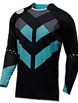 cheap -21Grams Men's Long Sleeve Cycling Jersey Downhill Jersey Dirt Bike Jersey Winter 100% Polyester Bule / Black Bike Jersey Top Mountain Bike MTB Road Bike Cycling Thermal / Warm UV Resistant Breathable