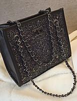 cheap -Women's Chain PU Top Handle Bag Solid Color Black / Purple / Rainbow