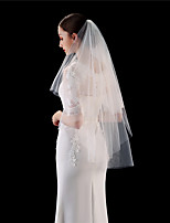 cheap -Two-tier Comtemporary / Stylish Wedding Veil Fingertip Veils with Solid 35.43 in (90cm) 100% Polyester / Classic