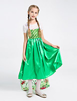 cheap -Elsa Dress Masquerade Flower Girl Dress Girls' Movie Cosplay A-Line Slip Cosplay Halloween Green Dress Halloween Carnival Masquerade Polyster