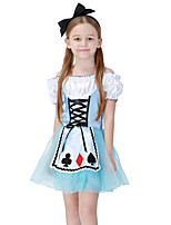 cheap -Maid Costume Dress Masquerade Flower Girl Dress Girls' Movie Cosplay A-Line Slip Cosplay Halloween Blue Dress Halloween Carnival Masquerade Tulle Polyester
