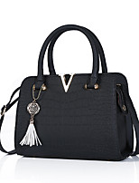 cheap -Women's Tassel Faux Leather / PU Top Handle Bag Solid Color Black / Purple / Blushing Pink