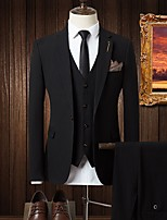abordables -Noir / Gris Couleur Pleine Coupe Sur-Mesure Polyester Costume - Cranté Croisé 4 boutons / costumes