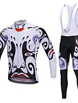 cheap -YORK TIGERS Men's Long Sleeve Cycling Jersey with Bib Tights - Kid's Winter Fleece Silicone Elastane Black / White Bike Jersey Bib Tights Thermal / Warm Breathable 3D Pad Quick Dry Reflective Strips