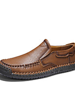 cheap -Men's Leather Shoes Nappa Leather Fall / Spring & Summer Business / Casual Loafers & Slip-Ons Walking Shoes Breathable Black / Dark Brown / Khaki / Party & Evening