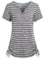 cheap -Women's Going out Beach Basic / Boho T-shirt - Striped Black