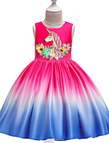 cheap -Unicorn Dress Masquerade Flower Girl Dress Girls' Movie Cosplay A-Line Slip Cosplay Halloween Blue / Fuchsia Dress Halloween Carnival Masquerade Cotton / Floral