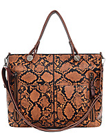 cheap -Women's Zipper PU Top Handle Bag Snakeskin Black / Brown / Blushing Pink